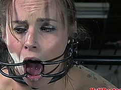 Bit gagged tied up sub whipped