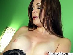 Exotic shemale teases during passionate masturbation