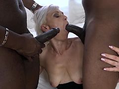 Granny takes black dick like a champ in all her holes
