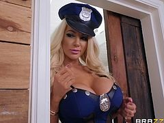 This hot busty police officer was looking for thief when, quite by chance, she notices Daisy Marie masturbating. From that moment on, she lost control of herself and immediately jumped on the busty beauty and began to lick, and finger her juicy pussy...