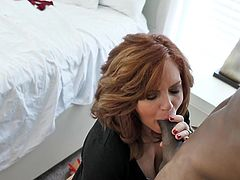 She is ready to work hard to get his huge black cock deep into her mature pussy. The busty redhead lady squeezes his big black penis between her boobs and massages it with those huge saggy titties. Then it's time for quality vaginal penetration... Join and enjoy!