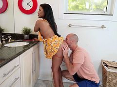 Sommer Isabella is my wife's cousine and she's incredibly slutty. She walks without underwear, and sometimes, inadvertently, exposes her big tits with big and hard nipples, or sexy bubble ass. I no longer want to hide my desire to drill her pink pussy, so I fuck her right in the kitchen.