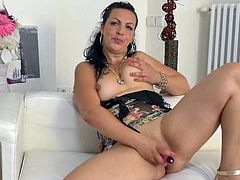 Sexy mature lady, Anis, is so horny that she has to get down on the floor and stick a sex toy deep in her vagina. Watch as this hottie bounces up and down on her vibrator. She is so turned on knowing you're watching her. Time for her to cum!