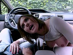 Having seen such a seductive beauty like Krissy Lynn, it was simply impossible to refuse her, when she leisurely pulled out my cock and offered to have sex. Watch the busty milf sucking my dick and balls with passion. Relax and enjoy impetuous car sex session!