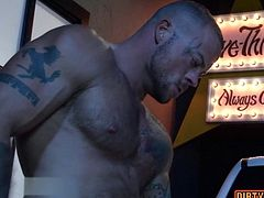 Muscle bear threesome with facial cum HD video