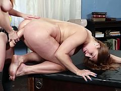 This couple of horny lesbians looks very seductive. Both have beautiful red hair, big tits and huge round asses. But it is Skylar Snow who will be the first to take a huge dildo in her tight asshole. Join to enjoy punishing anal sex!