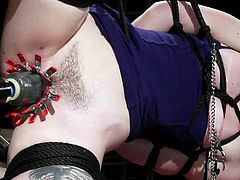 For those who are looking for a thrilling and arresting sensation, this video can serve as a guide to action. This spectacular sight definitely deserves your attention. Join to see kinky pussy torture and cunning rope bondage.