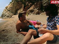 LETSDOEIT - Public Beach Sex with Hot Ebony Babe in HD 1080p