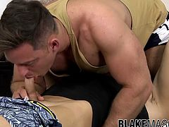 Muscular jock gets his thick cock inside his twink friend