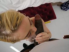 Katra Collins had never seen such a huge cock before, so it's not surprising that at that moment when she caught this black pervert, she couldn't deny herself the pleasure of trying his big black dick. Join and have fun!