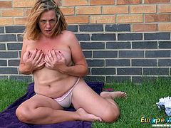 Solo outdoor masturbation and hot striptease european mature video Find this video on our network Oldnanny.com