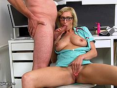 Check out this smoking hot and horny blonde mature nurse giving her patient a nice hand job.Watc her stroking his hard cock in HD.