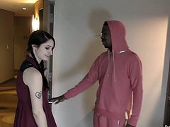 Check out this smoking hot and horny brunette amateur chick giving an ebony guy with a monster cock a blowjob.Watch her slutty face fucked in HD.