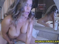Oiled Busty Big Ass Latin Mom Fucks Dildo Hard