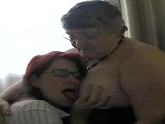 Old fat slut with her girlfriend watched a porn movie