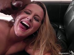 Check out this smoking hot and horny blonde MILF getting her wet pussy drilled hard by 2 black monster cocks.Watch her banged in HD.