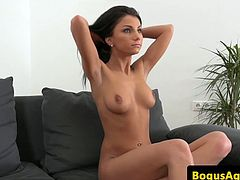 Busty casting amateur being pussypounded and creamed
