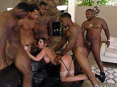 Check out this smoking hot and horny brunette cutie getting her tight pussy and asshole drilled by a bunch of ebony guys with big black cocks.