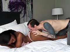tattooed guy with big cock trying to fuck first black babe