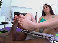 Italian porn legend Valentina Nappi uses her sexy soles to make a huge black cock cum. This is the best footjob he has ever had, and the stud can't get enough of her elegant and pale skin. Valentina is so skilled at sucking big black cock that she manages to fit the whole monster cock in her throat.