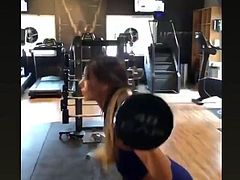 Madison Grace Reed doing jumping squats to tone her hot body