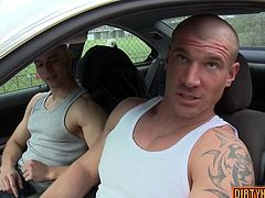 Enjoy htese two naughty muscular homosexuals having fun in the car .Watch them suck and fuck each others' cocks in HD video today