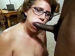 Granny sucks long black cock.