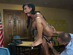 Naked and with bound hands, the busty babe must obey all the commands of her abusive husband. Her lover's long dick pierces Lily's wet pussy from behind and she can't even scream as her mouth is gagged. Join for rough bdsm!