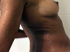 Fine Curly Hair Woman in Shower