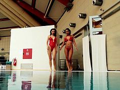 Two hotties Markova and Zlata in the pool all alone and naked