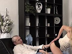 Delightful blonde youngster 's cuchy filled with love stick