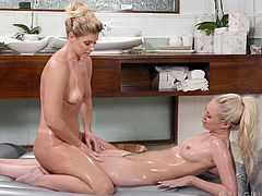sensual lesbian masseuse fucked her client