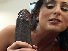 Horny brunette slut Luscious Lopez is having fun with yet another huge hard phat black monster of a cock on camera in HD video
