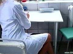 Nurse on gyno chair