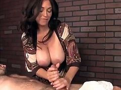 amazing mature busty milf made lucky guy cum during massage