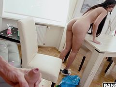 Whenever the maid comes over she always teases me by flashing her perky tits. She knows this makes my cock rock hard. Today she will finally let me watch her and jerk off. The Latina loves my cock so much that she had to stop cleaning to suck it.