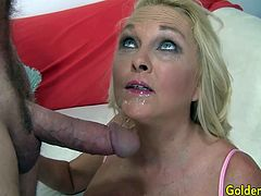 Sexy blonde granny woman sucks a fat cock so good and get her pussy licked by the guy Then she takes the dick in her pussy and get fucked in many positions She takes cum in her mouth