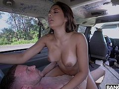 This time we picked up a reallyВpretty, hot girl walking back home from a pool party. Her name Serena Santos. This one was a tough one, we offered her some cash to get her into the van but she said