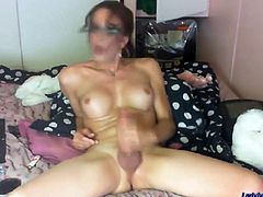 Check out this smoking hot and horny mature brunette shemale masturbating.Watch this tranny jerking off her hard dick until she cums.