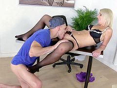 Luci Angel has fucked many men in her lifetime but there is something about guys in their twenties and their ultra hard cocks that she cant seem to give up. Sure shes old enough to be this guys boss but that doesnt stop her from getting down on her knees to give him the best blowjob of his like before sitting him down so that she can ride his cock for her pleasure.