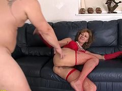 85 years old hairy granny in fishnet stockings enjoys her first rough anal sex