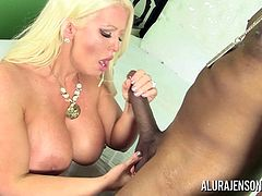 Alura Jenson was running late and needed a ride, so she called a Boober. Once she set eyes on her driver, she couldn't resist taking him back to her hotel for some fun with his big black cock!