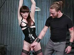Legendary trans pornstar Natalie Mars is under the control of the master. She's locked in the basement and there is no escape for her at all. The whips and bondage make her cock rock hard. The master squeezes her dick so hard and sucks her off until she is dripping precum.