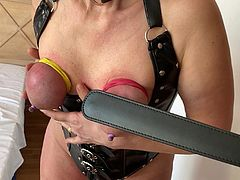Boobs tied and tortured whit paddle