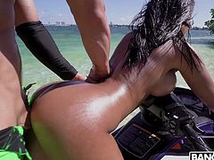 This hot fuck session is generally full of romance. Crystal clear water around, the sun is shining brightly and they are having sex right on a jet ski. Everything is perfect, as perfect as her huge bubble butt... Relax and enjoy impetuous sex action!