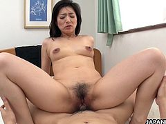 Dirty minded mature, known mostly as Marina Matsumoto is fucking various guys from the neighborhood, just because she likes to feel dicks inside her soaking wet pussy, after position 69 and some sensual foreplay.