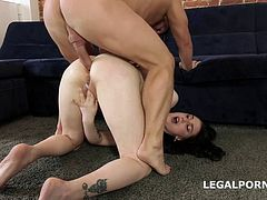 Busty Sexy Teen Sandra Assfucked and D Ped by Two Guys